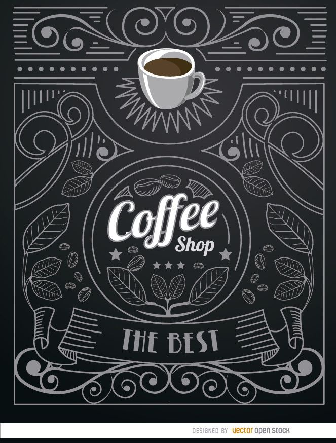 Coffee shop doodle logo with ornaments