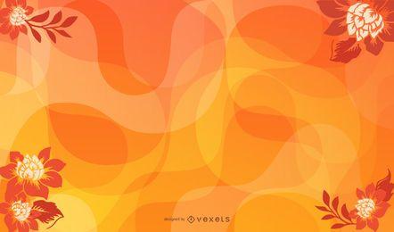 Fundo de ondas de flor abstrato laranja