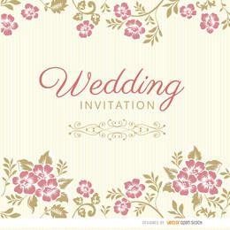 Invitación de boda floral hojas manga