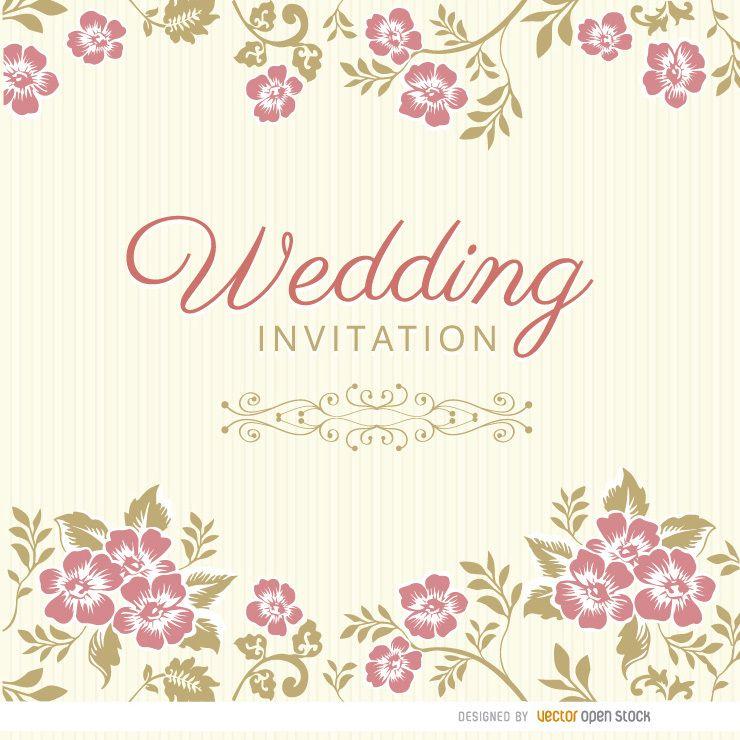 Floral Deixa A Luva Do Convite Do Casamento Baixar Vector