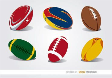 Set de 6 pelotas de rugby.