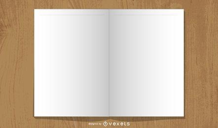 Diseño de revista de libro abierto en blanco