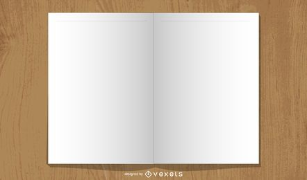 Layout de livro aberto em branco