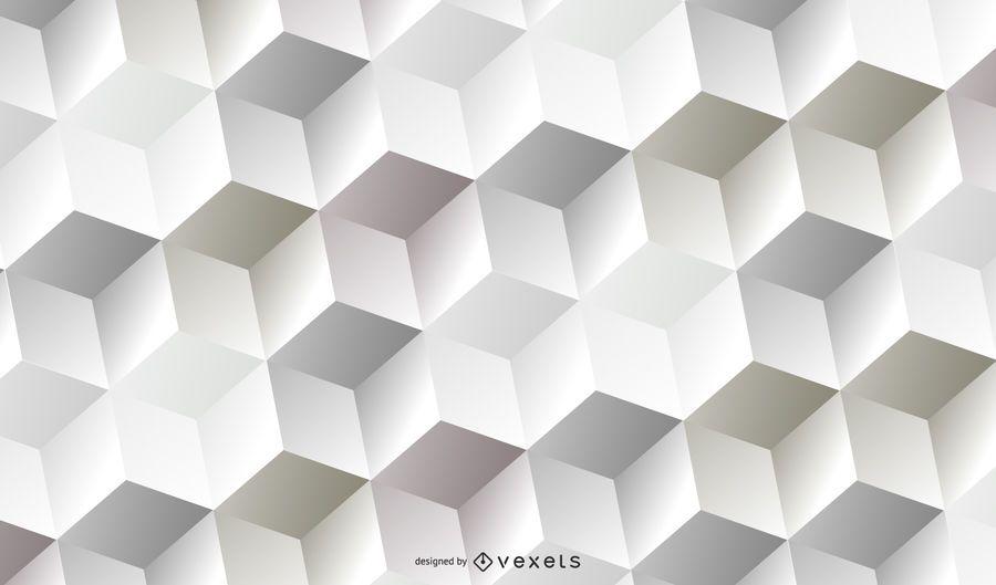 Padrão cúbico 3D branco abstrato