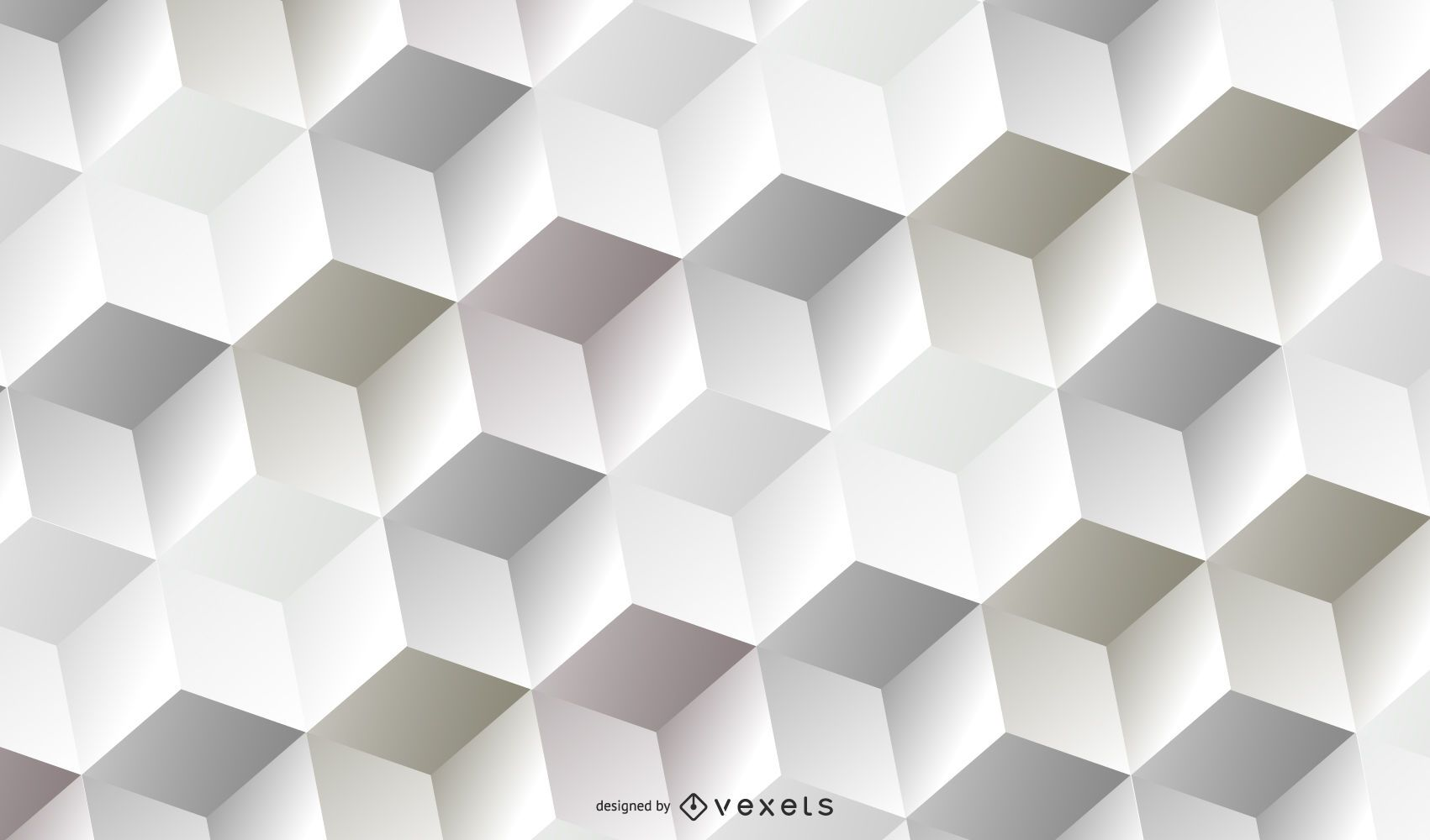 Abstract White 3D Cubic Pattern