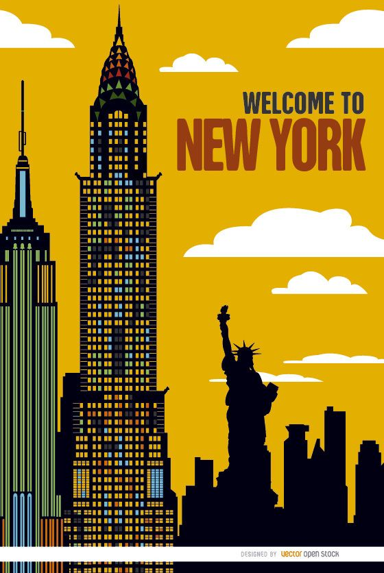 New York buildings sunset - Vector download