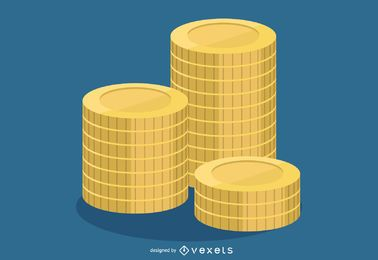 Diseño de monedas de oro apiladas