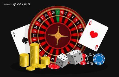 Fichas e cartões de jogos de pôquer de cassino