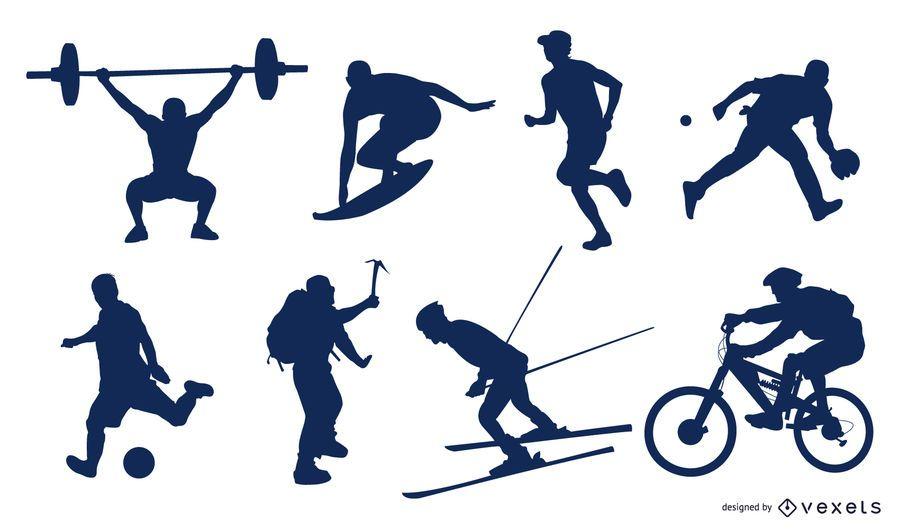 Pack de deportistas siluetas