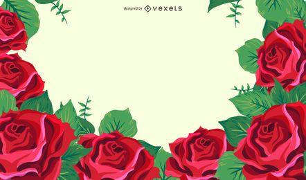 Fondo romántico de rosas rojas decorativas