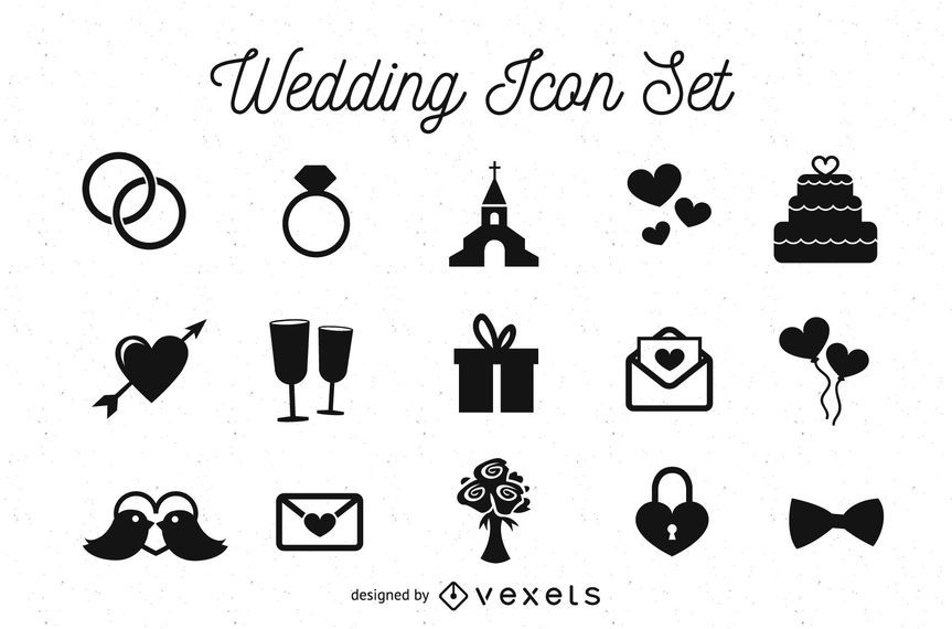 Black & White Wedding Icon Pack