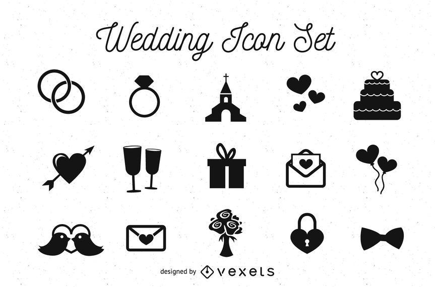Paquete de iconos de boda en blanco y negro