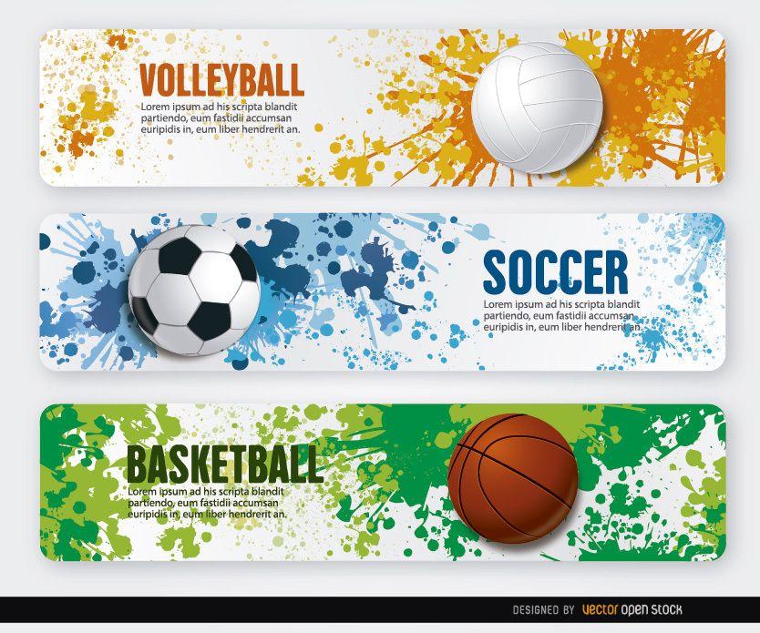 Fondo Con Iconos De Deporte: Volleyball Basketball Soccer Grunge Banners