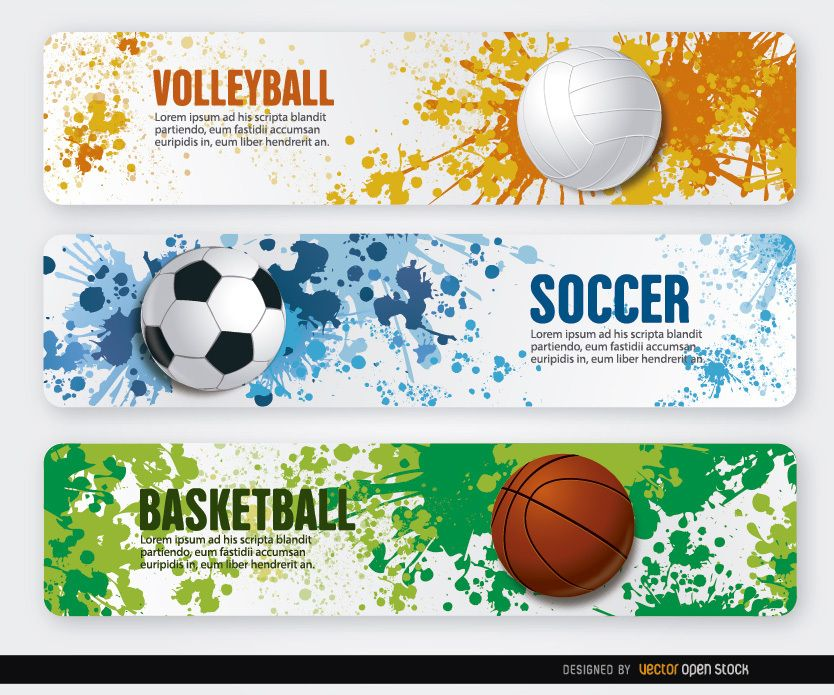 Volleyball basketball soccer grunge banners