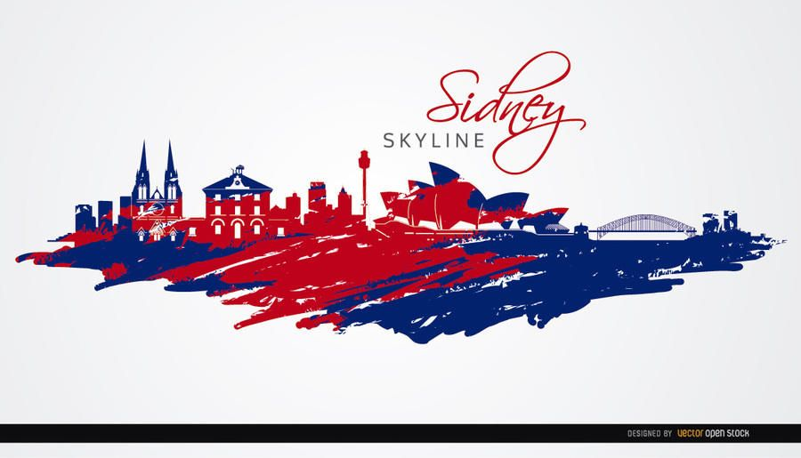 Sydney skyline painted flag colors
