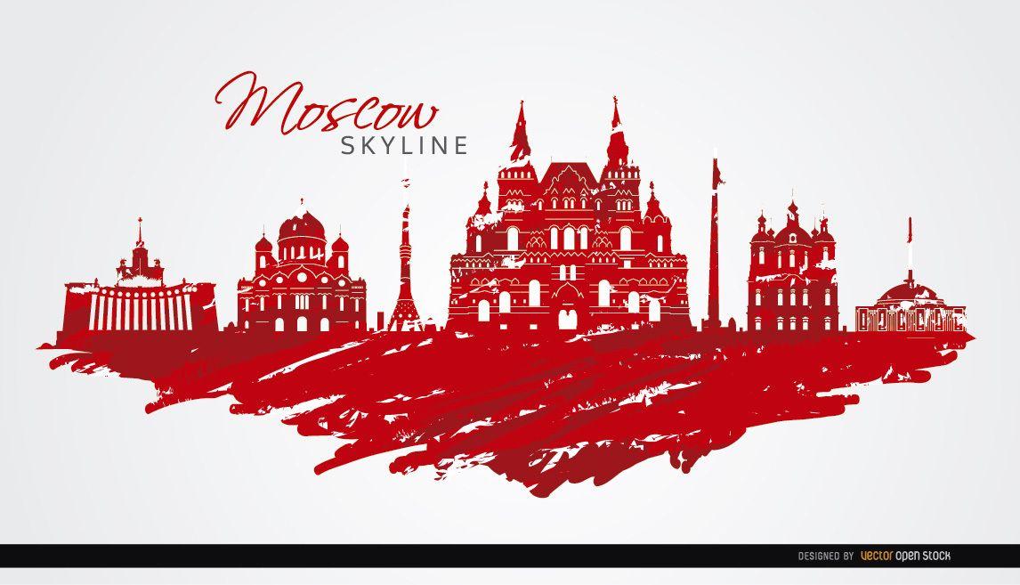 Moscú horizonte pintado colores de la bandera