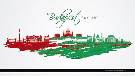 Monumentos de cidade de Budapeste bandeira cores