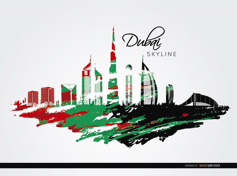 Dubai skyline with flag colors