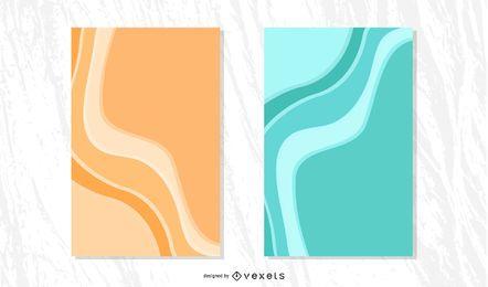Plantilla de folleto - olas azules