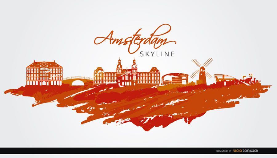 Skyline de Amesterdão pintado de laranja