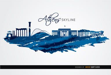 Athens landmarks painted blue