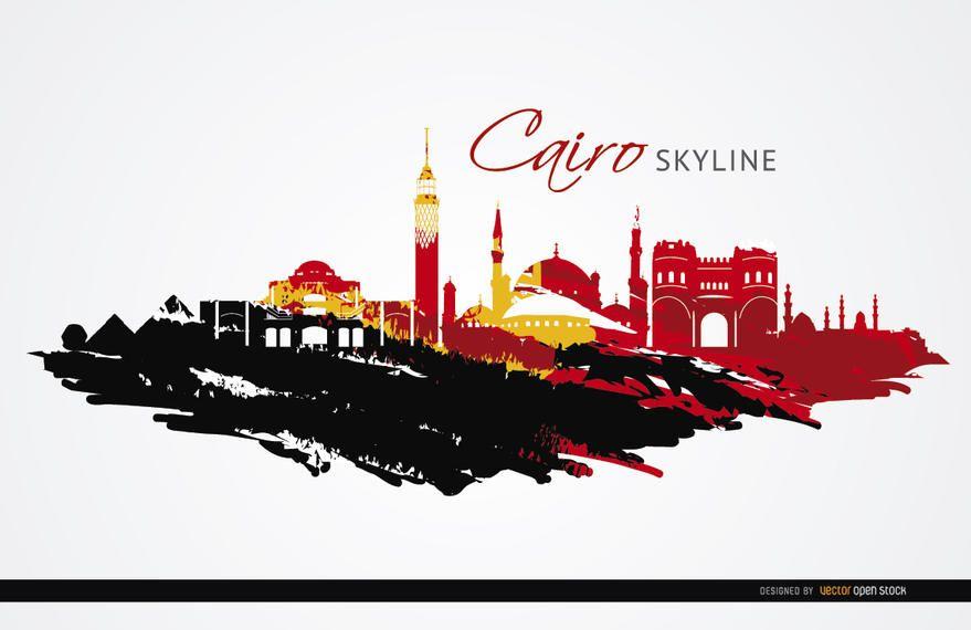 Monumentos de El Cairo pintaron bandera