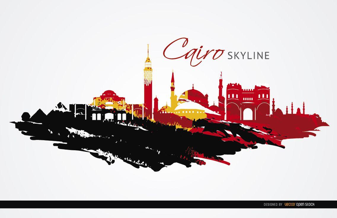 Cairo landmarks painted flag