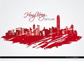 Edifícios da cidade de Hong Kong pintados de vermelho