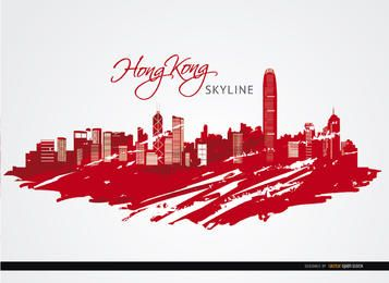 Hong Kong-Stadtgebäude rot gemalt