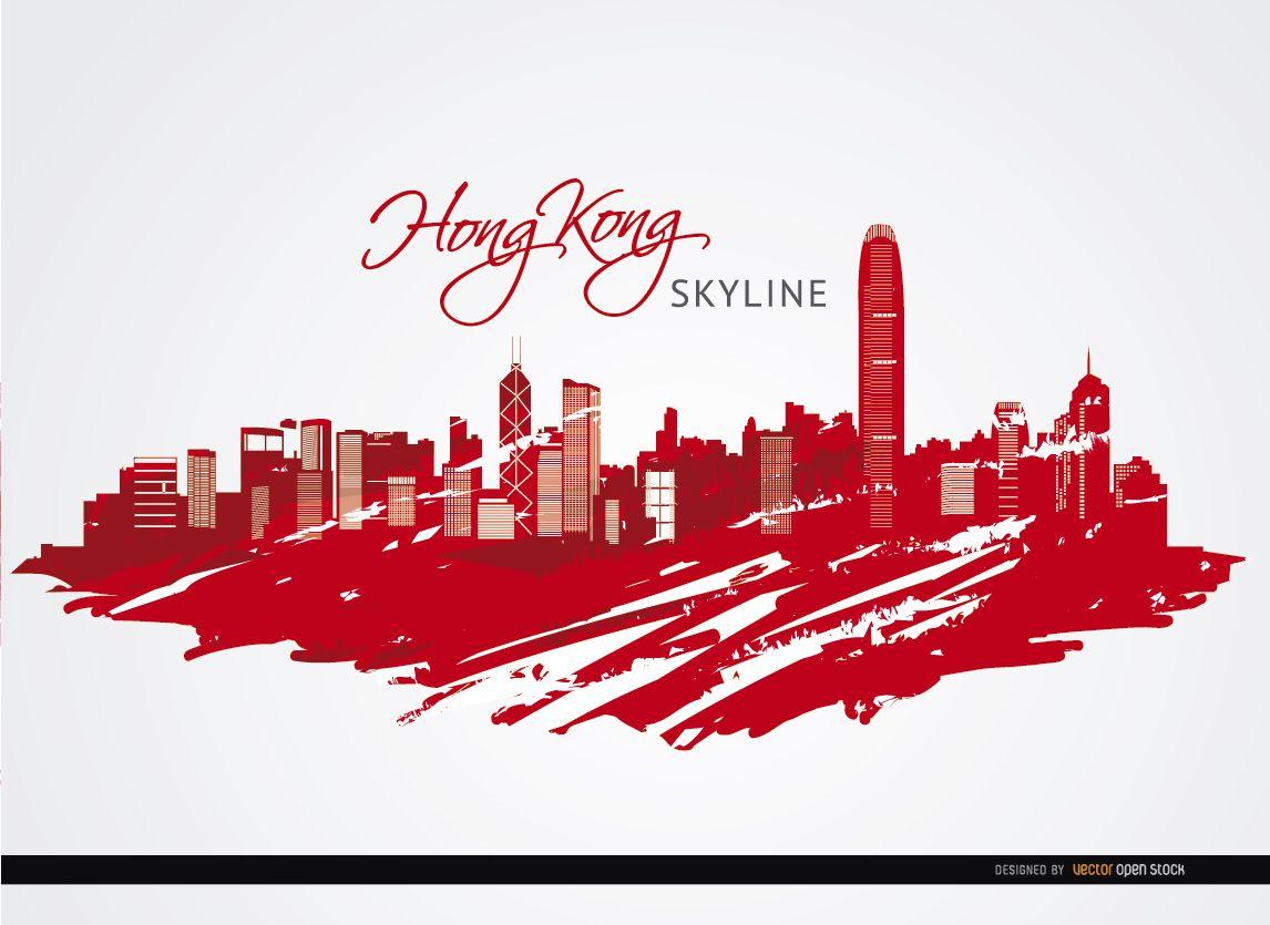 Edificios de la ciudad de Hong Kong pintados de rojo