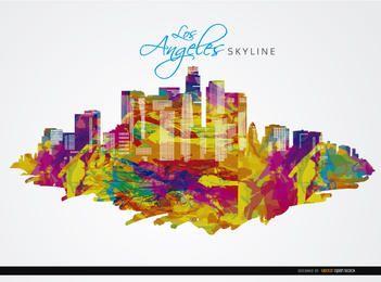Los Ángeles edificios de la ciudad colorido fondo