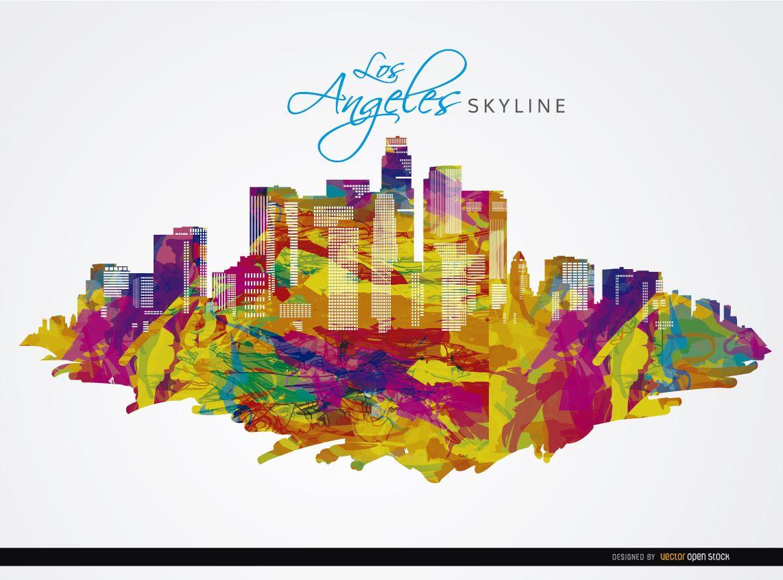 Los Angeles city buildings colorful