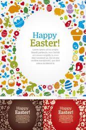 3 Feliz Pascua elementos de huevo fondos