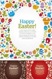 3 Happy Easter egg elements backgrounds