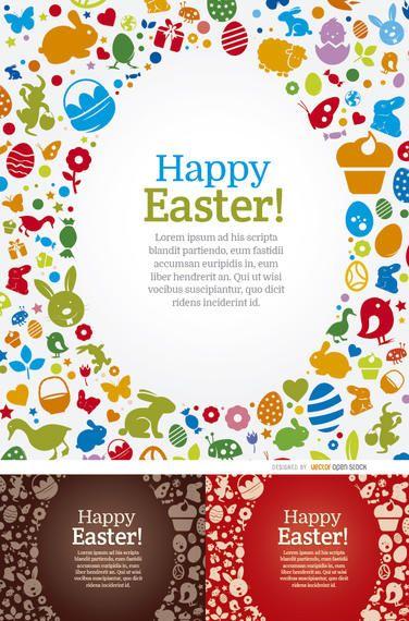 3 fondos felices de los elementos del huevo de Pascua