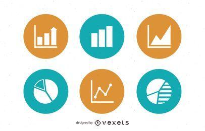 Paquete de iconos de círculos gráficos y gráficos