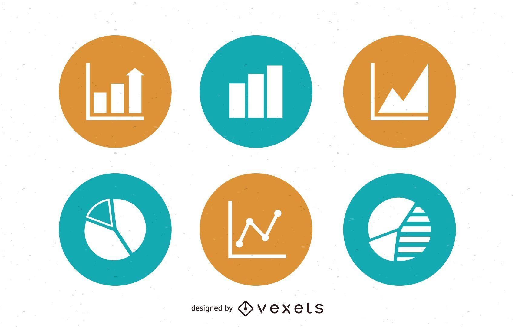 Paquete de iconos de gráficos y círculos de gráficos