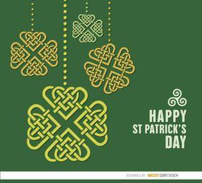 Fondo de corazones de tréboles celtas de San Patricio