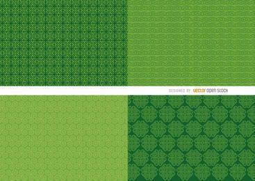 4 padrões de fundo verde do St. Patrick