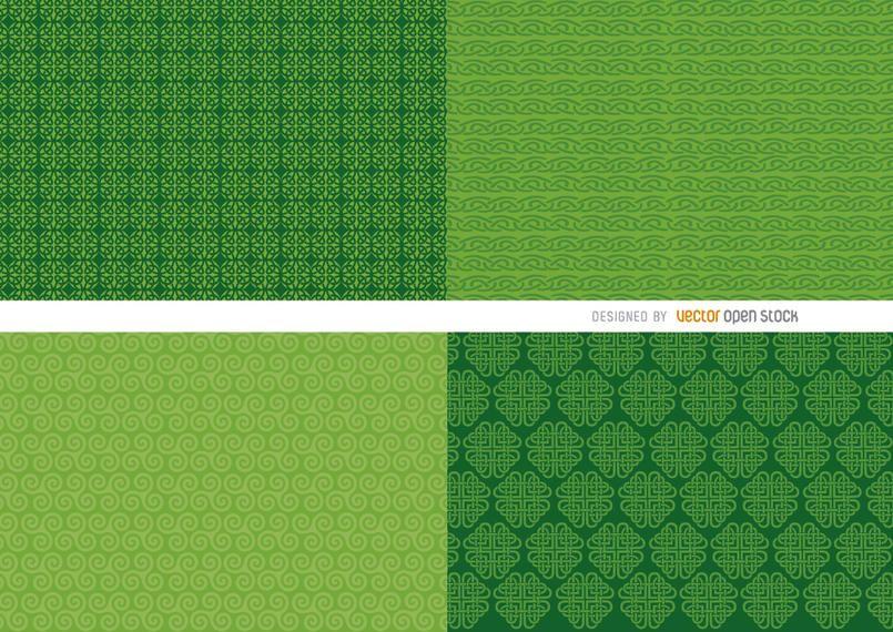 4 patrones de fondo verde de San Patricio