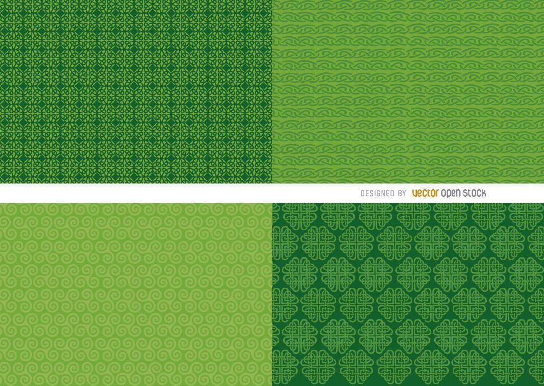 4 St. Patrick?s green background patterns