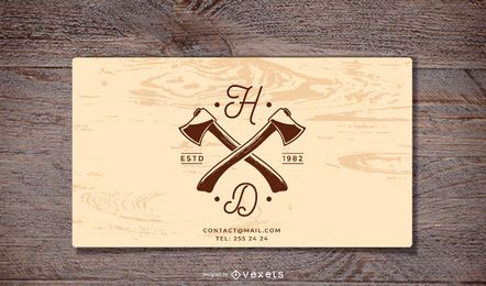 Wooden Background Business Card Template