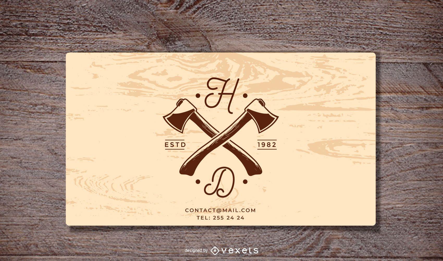 Plantilla de tarjeta de visita de fondo de madera