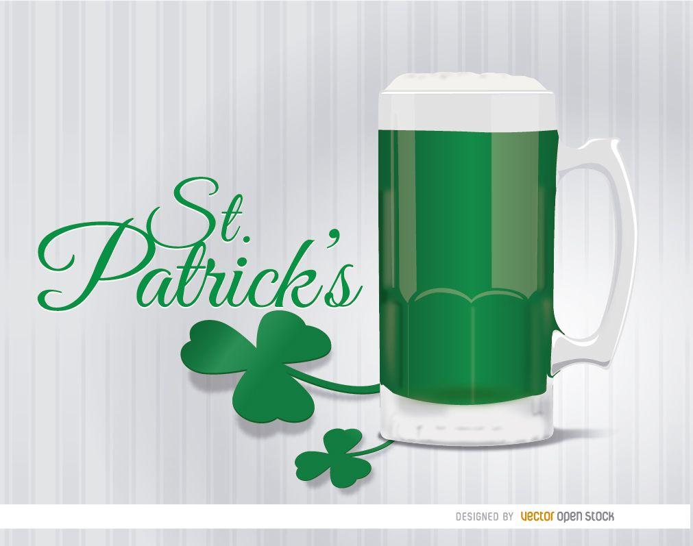 St. Patrick?s green beer shamrock background