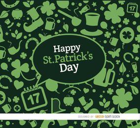 Elementos de St. Patrick fundo verde