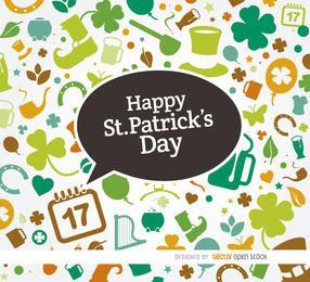 Símbolos de St Patrick fundo colorido