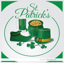St. Patrick's symbols circle background