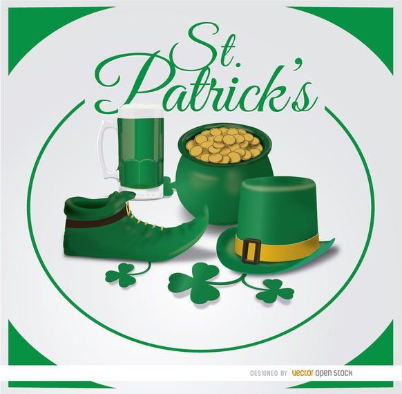 St. Patrick?s symbols circle background