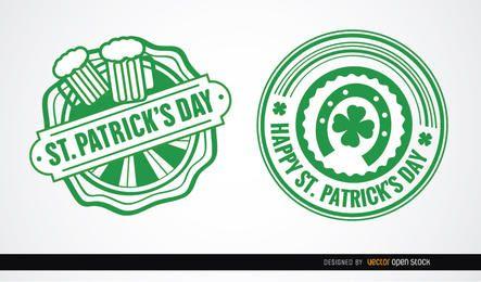 Dois emblemas redondos de St. Patrick