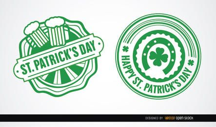 Two St. Patrick's round badges